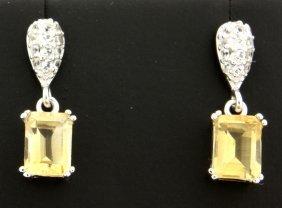 Emerald Cut Dangle Earrings With Genuine Citrine
