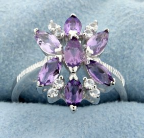 Cluster Of Genuine Amethyst Gemstones Set In Sterling