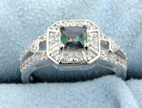 Genuine Princess Cut Mystic Topaz Ring With White