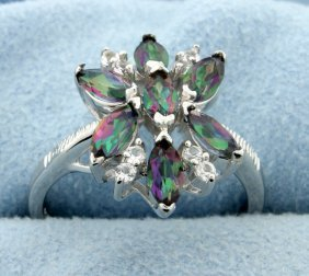 Cluster Of Genuine Mystic Topaz Gemstones Set In