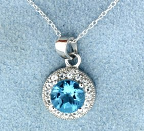 Genuine Blue Topaz Pendant With Sterling Silver Chain