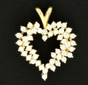 14k Cz Large Heart Pendant
