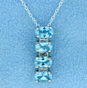 Blue Topaz & Diamond Sterling Silver Pendant