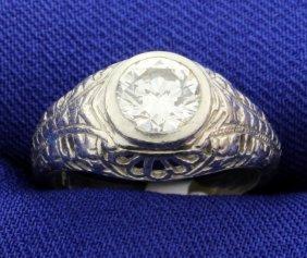 Diamond And Platinum Vintage Filigree Ring