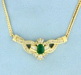 Diamond & Natural Emerald Necklace