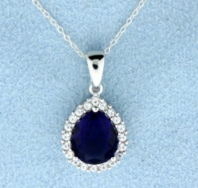Sterling Silver Pendant With Lab Sapphire