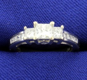 1 Ct. Diamond 3-stone Princess Cut 14k Ring