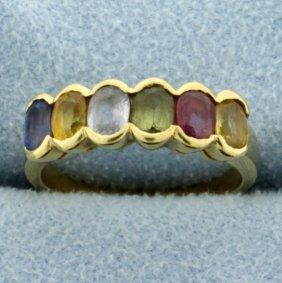 18k Yellow Gold Rainbow Gemstone Ring