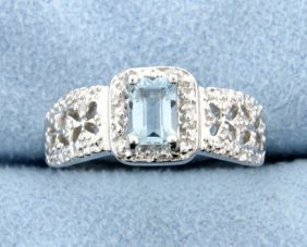 Sky Blue Topaz & Diamond Sterling Silver Ring