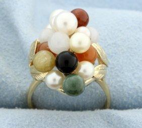 Vintage Cluster Of Round Gems Ring