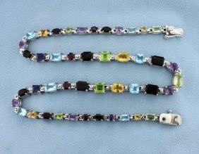 Amazing 50 Carat Gemstone Sterling Silver Necklace