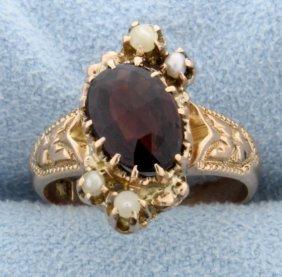 Vintage Rose Gold, Garnet & Seed Pearl Ring