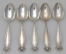 5 Sterling Towle Empire Teaspoons 1894