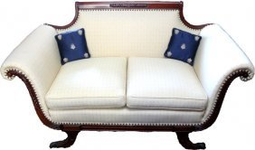 19thc Duncan Phyfe Carved Mahogany Settee