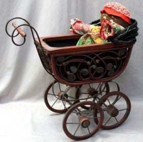 Antique Black Stockinette Doll & Baby Carriage