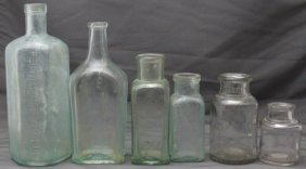 6 Pc Antique Bottles Pepto Mancan - Ed Pinuad + More