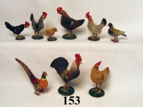 Painted Fowl Figurines