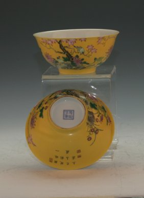 Pair Of Imperial Yellow Bowls