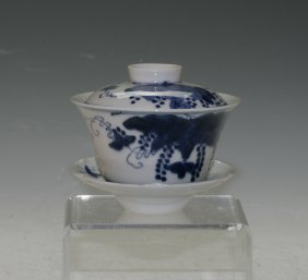 Blue And White Covered Cup And Saucer