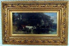Friedrich Voltz (1817-1886) Cows In Landscape Oil