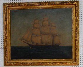 19th Century Painting Of American Vessel