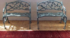 Pair 19th Century Cast Iron Benches