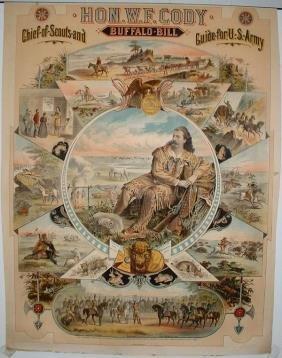 Hon. W. F. Cody Buffalo Bill Lithograph Poster