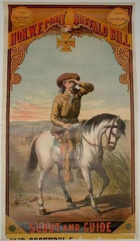 Rare Hon. W.F. Cody Buffalo Bill Lithograph Poster