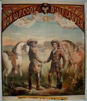 Rare Hon. W. F. Cody & Dr. W.F. Carver Lithograph P