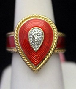 Beautiful 14kt Over Silver Ring With Ruby Accent &