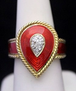 Beautiful 14kt Over Silver Ring With Ruby Enamel &