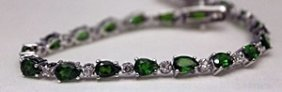 Fancy Silver Bracelet With Peridots & White Sapphires