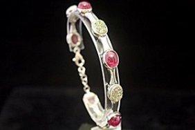 Elegant Lab Ruby & Agates Silver Bracelet