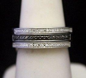 Very Fancy Silver Trio Ring With Black & White Diamonds