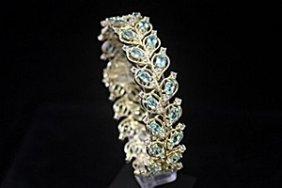 Dazzling 14kt Gold Over Silver White Sapphire & Topaz