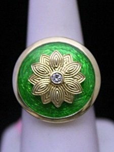 Beautiful 14kt Over Silver Ring With Emerald Enamel &