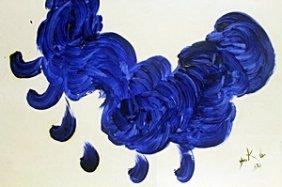Blue Bird - Oil On Paper - Yves Klein