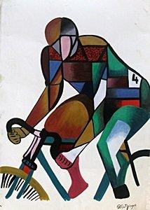 Cyclist - Oil Painting On Paper - Jean Metsinger