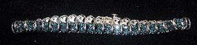 Lady's Gorgeous Silver Bracelet With Lab Alexandrites