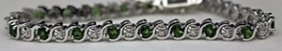 Gorgeous Silver Bracelet With Russian Chrome Diopside &