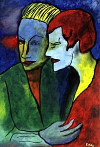 Lovers - Oil On Paper - Emile Nolde