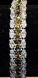 Fancy Green Peridots & White Sapphires Ss Bracelet.