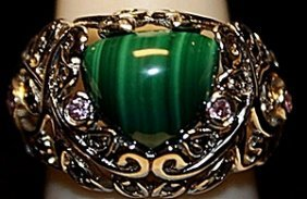 Beautiful Jade With Diamonds Ss Ring. (244l)