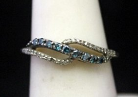 Fancy Silver Ring With Lab Alexandrites & Diamonds