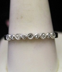 Lady's Gorgeous Silver Wedding Band With Diamonds