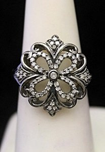 Fancy Silver Antique Style Ring With Diamonds