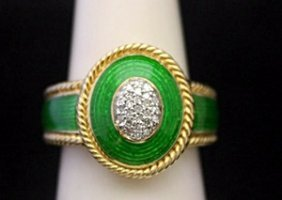 Gorgeous 14kt Over Silver Ring With Emerald Enamel &