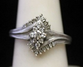 Lady's Fancy Silver Ring With Cluster Diamonds