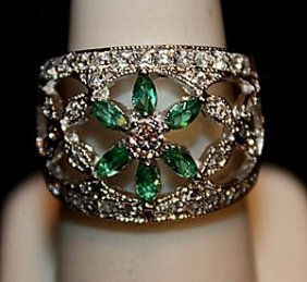 Beautiful Lab Emeralds, White Topaz & Sapphires Ss