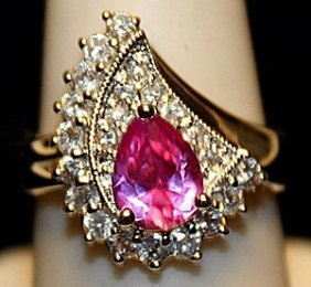 Beautiful Pink Sapphire & White Sapphires Ss Ring.